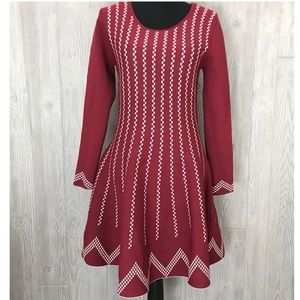NWT Gianni bini xl red and white sweater dress
